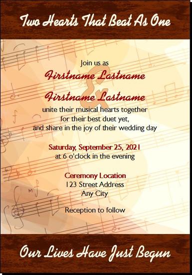 Music Sheet Wedding Invitations 5x7 Flat
