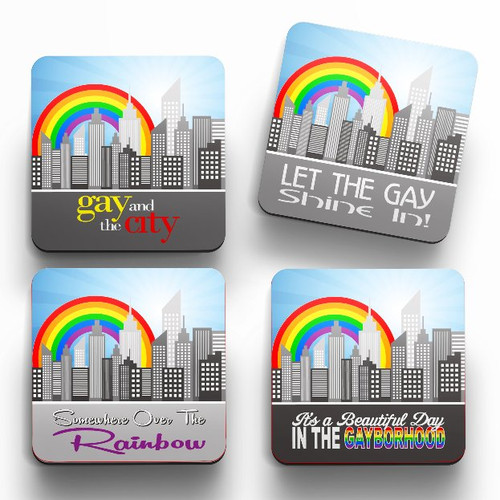Gay Rainbow Cityscape Set of 4 Drink Coasters
