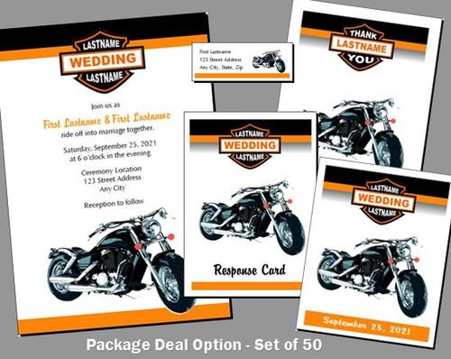 Motorcycle Wedding Invitations Package Deal