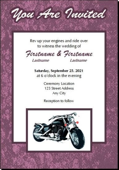 Motorcycle Purple Wedding 5x7 Flat