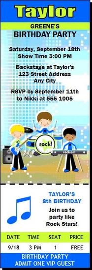 Boy Rock Band Birthday Party Ticket Invitation Blue Green