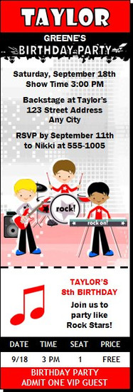 Boy Rock Band Birthday Party Ticket Invitation Red