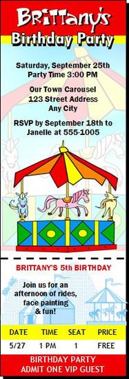 Carousel Birthday Party Ticket Invitation