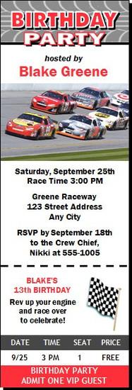 Daytona 500 Birthday Party Ticket Invitation Red
