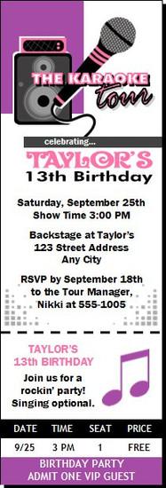 Karaoke Star Birthday Party Ticket Invitation Purple