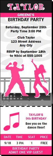Dance Party Birthday Ticket Invitation Pink