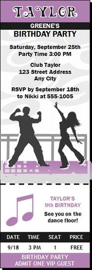 Dance Party Birthday Ticket Invitation Purple