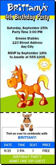 Cartoon Horse Birthday Party Ticket Invitation