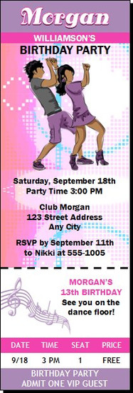 Dancing Teens Birthday Party Ticket Invitation Pastel
