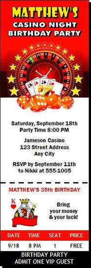 Casino Dice Birthday Party Ticket Invitation
