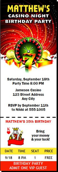 Casino Party Birthday Ticket Invitation