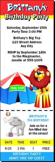 Circus Birthday Party Ticket Invitation
