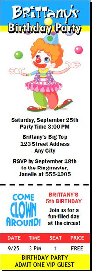 Circus Clown Birthday Party Ticket Invitation