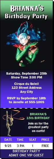 Cirque du Soleil Birthday Party Ticket Invitation