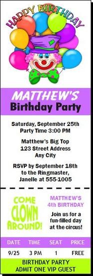 Clown Birthday Party Ticket Invitation