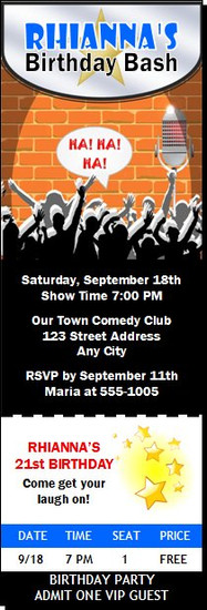 Comedy Club Birthday Party Ticket Invitation