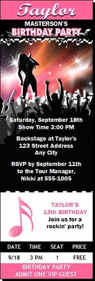 Concert Singer Female Birthday Party Ticket Invitation