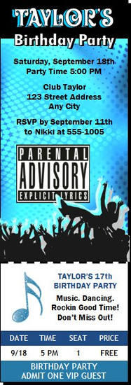 Crowd Surf Explicit Lyrics Birthday Party Ticket Invitation