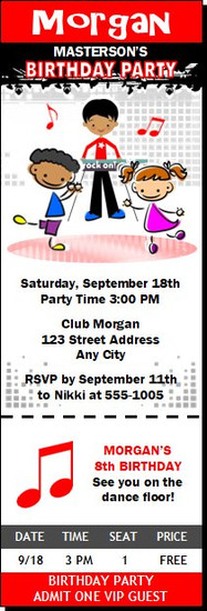 Dance Club Kids Red Birthday Party Ticket Invitation, Set of 12