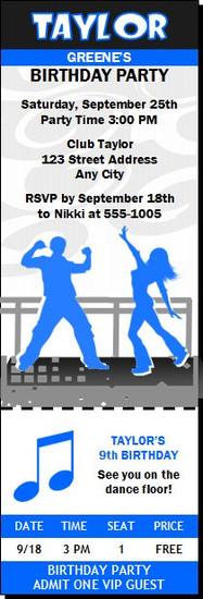 Dance Party Birthday Ticket Invitation Blue