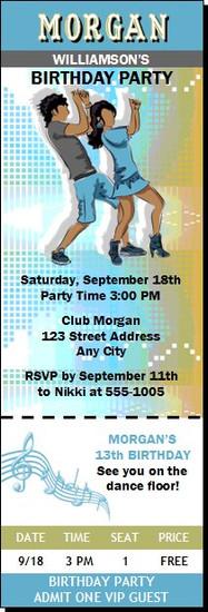 Dancing Teens Birthday Party Ticket Invitation Blue