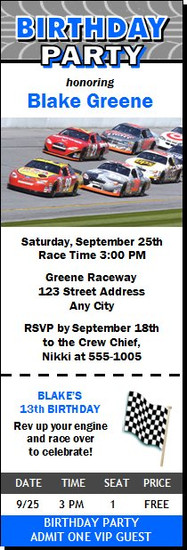 Daytona 500 Birthday Party Ticket Invitation Blue