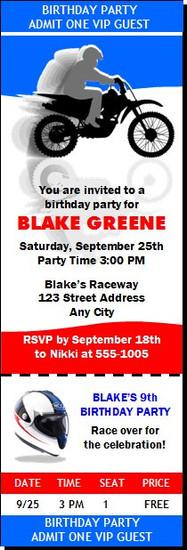 Dirtbike Birthday Party Ticket Invitation