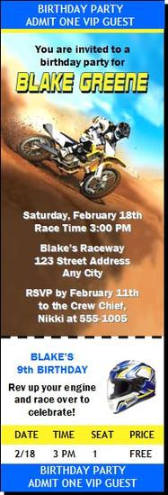 Dirtbike Race Blue Birthday Party Ticket Invitation