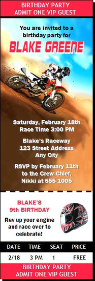Dirtbike Race Red Birthday Party Ticket Invitation