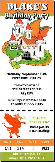 Dragon Fortress Birthday Party Ticket Invitation