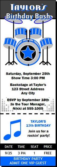 Drummer Birthday Party Ticket Invitation