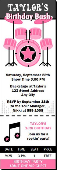 Drummer Girl Birthday Party Ticket Invitation