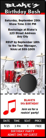Drummer Red Birthday Party Ticket Invitation