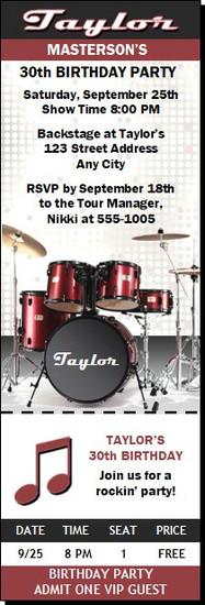Drums Birthday Party Ticket Invitation