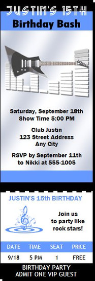 Electric Guitar Birthday Party Ticket Invitation