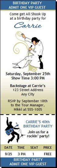 Elvis Inspired Birthday Party Ticket Invitation