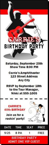 Elvis Inspired Design 2 Birthday Party Ticket Invitation