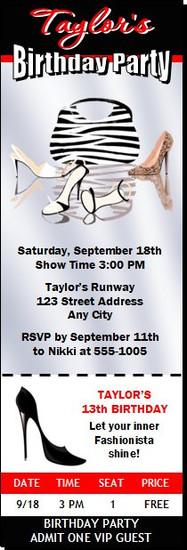 Fashionista Birthday Party Ticket Invitation