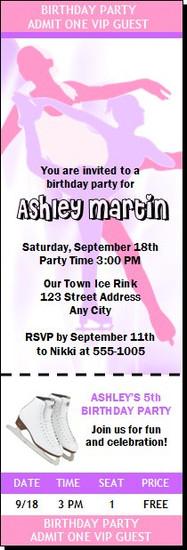 Figure Skater Birthday Party Ticket Invitation