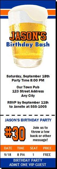 Free Beer Birthday Party Ticket Invitation
