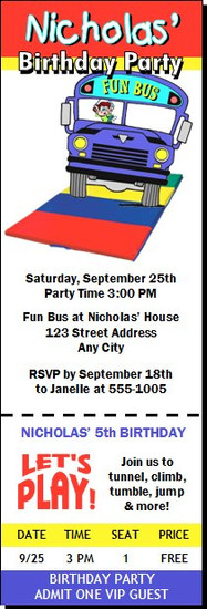 Fun Bus Birthday Party Ticket Invitation