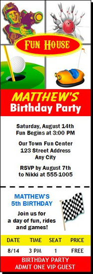 Fun Center Birthday Party Ticket Invitation