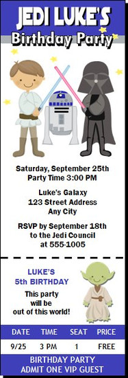 Galaxy Wars Birthday Party Ticket Invitation