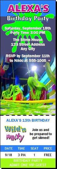 Get Slimed Birthday Party Ticket Invitation