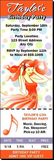 Ginger Girl Birthday Party Ticket Invitation