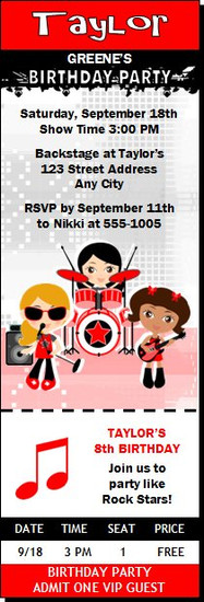 Girl Rock Band Birthday Party Ticket Invitation Red