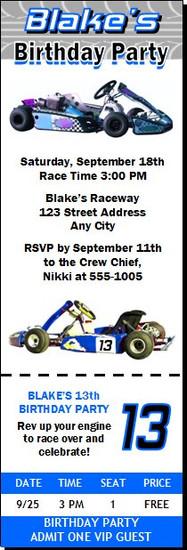 Go Cart Birthday Party Ticket Invitation
