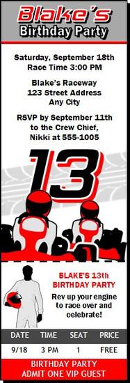 Go Kart Driver Birthday Party Ticket Invitation Red