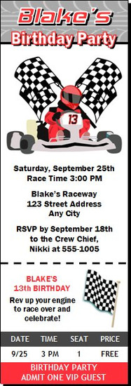 Go Kart Racer Birthday Party Ticket Invitation