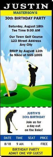 Golf Birthday Party Ticket Invitation
